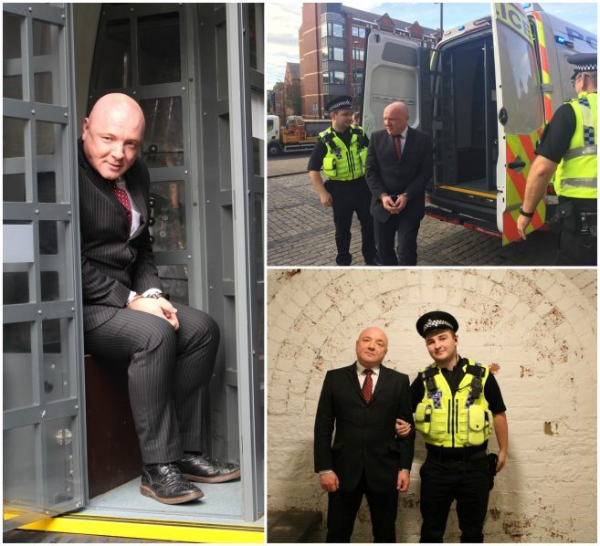Steven Newdall takes part in Jail and Bail 2017 for St Gemma's Hospice
